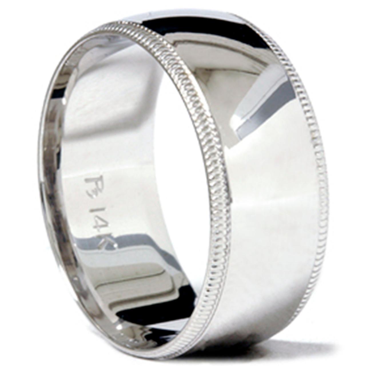 Mens White Gold Wedding Band   9mm Milgrain Mens Wedding Band 14k White Gold