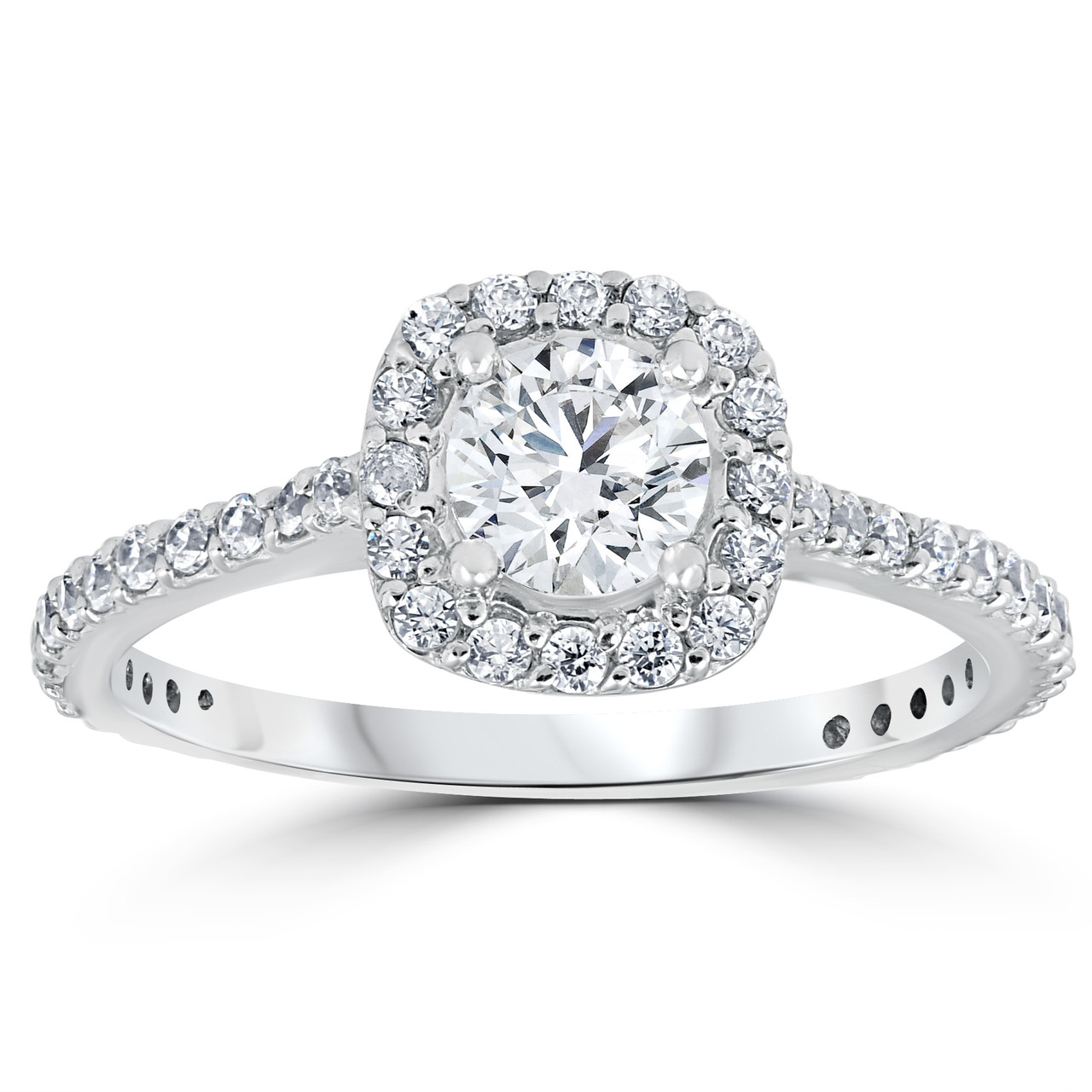 diamond engagement round pave ring diamonds halo half crown solid products with carat gold rose rings