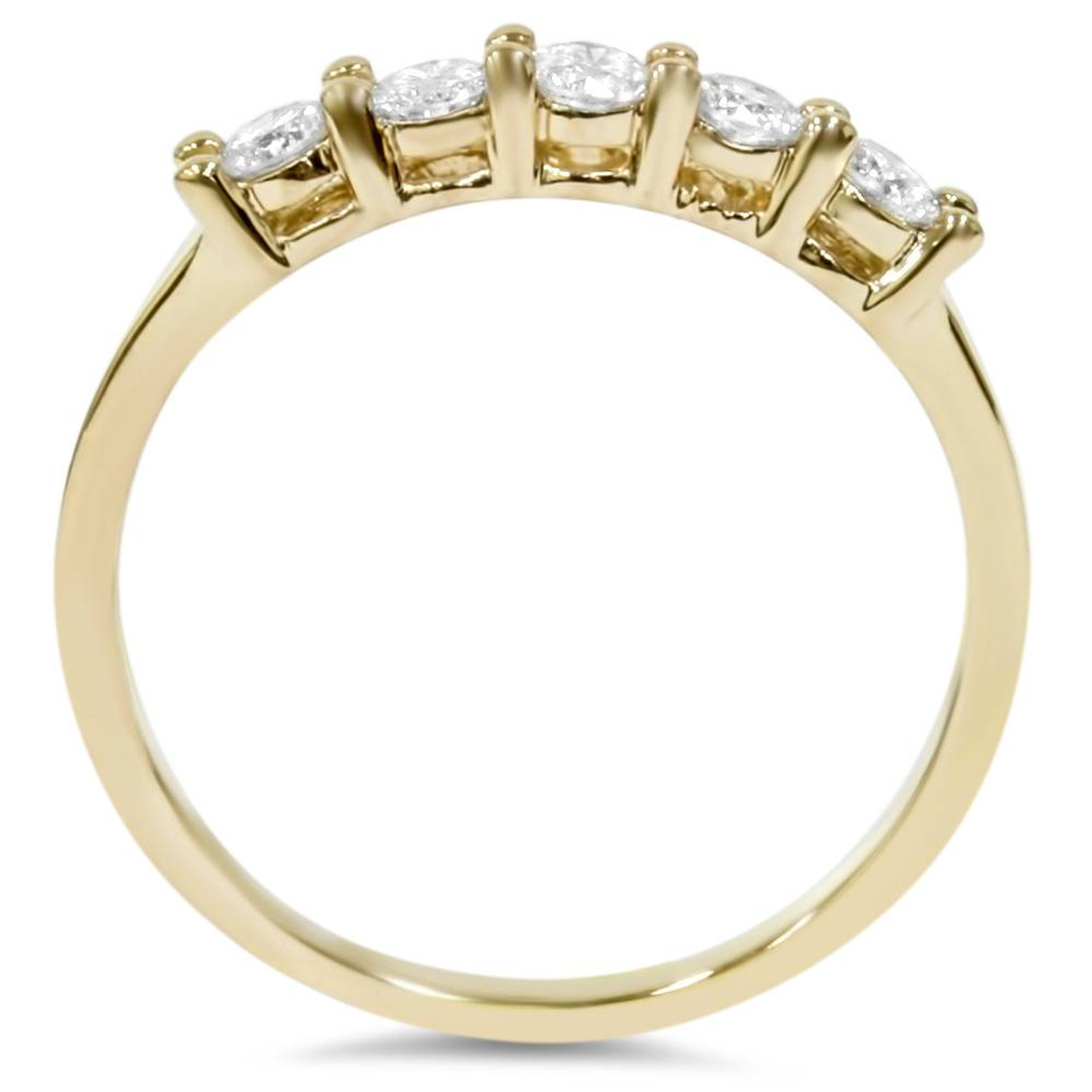 34ct Diamond 5Stone Wedding Anniversary 14K Gold Ring