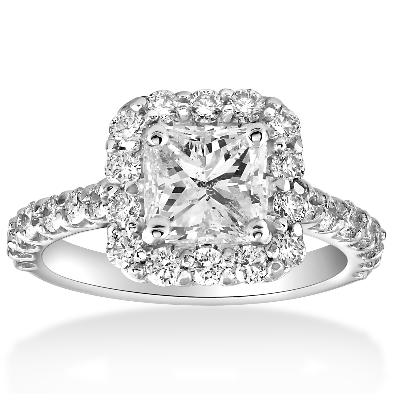 with round gold diamond engagement in pave white square rings shank rockher halo ring