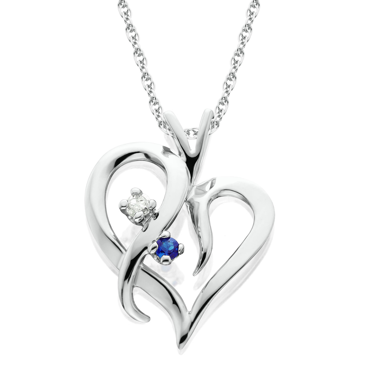 Blue sapphire diamond heart pendant 14 kt white gold with 18 chain blue sapphire diamond heart pendant 14 kt white gold with 18 chain gh i2 aloadofball Images