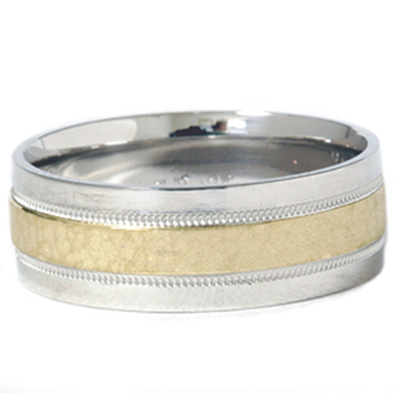 Mens 950 Platinum 18K Gold Hammered Wedding Band Ring