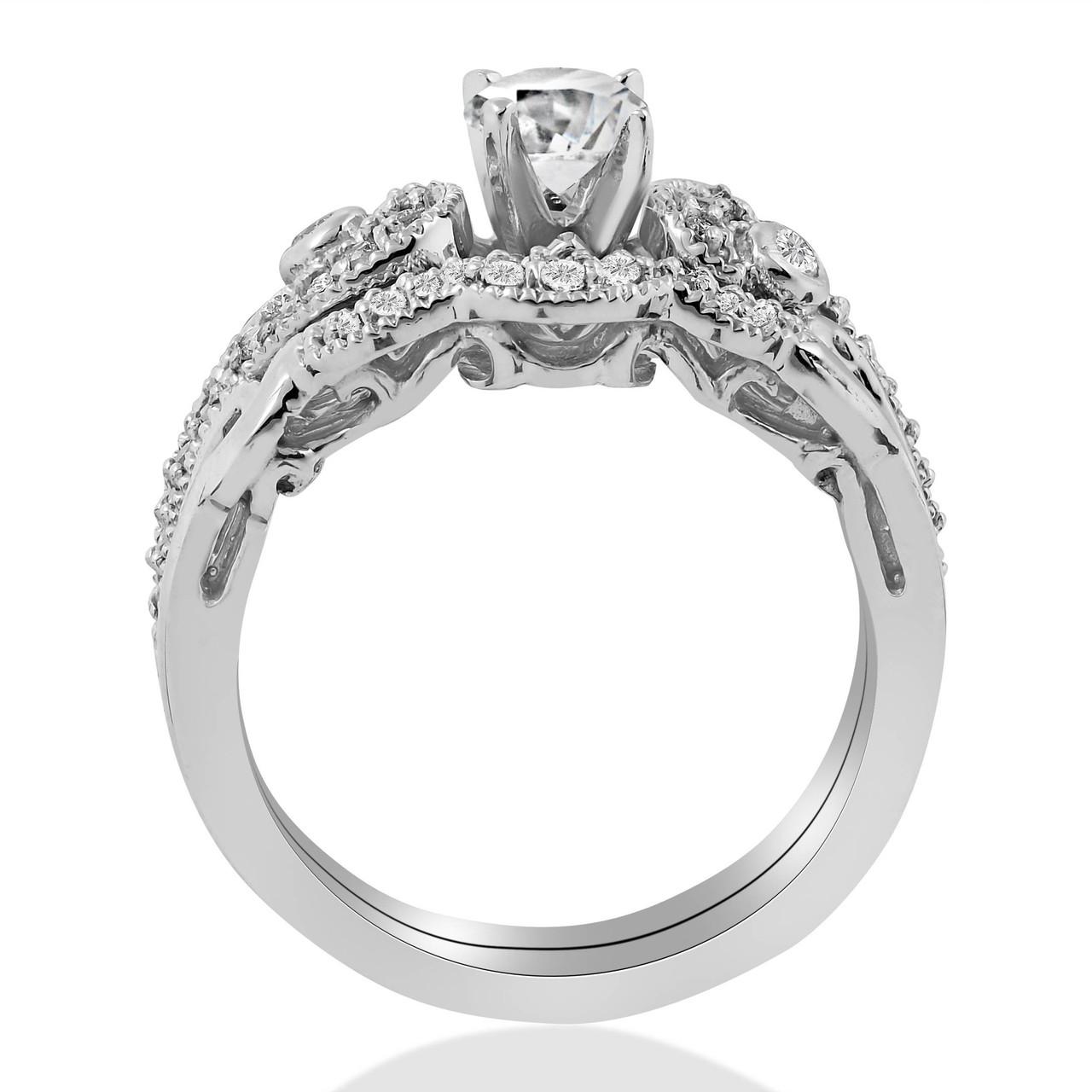 Emery 3 4ct Vintage Diamond Engagement Wedding Ring Set 14k White Gold