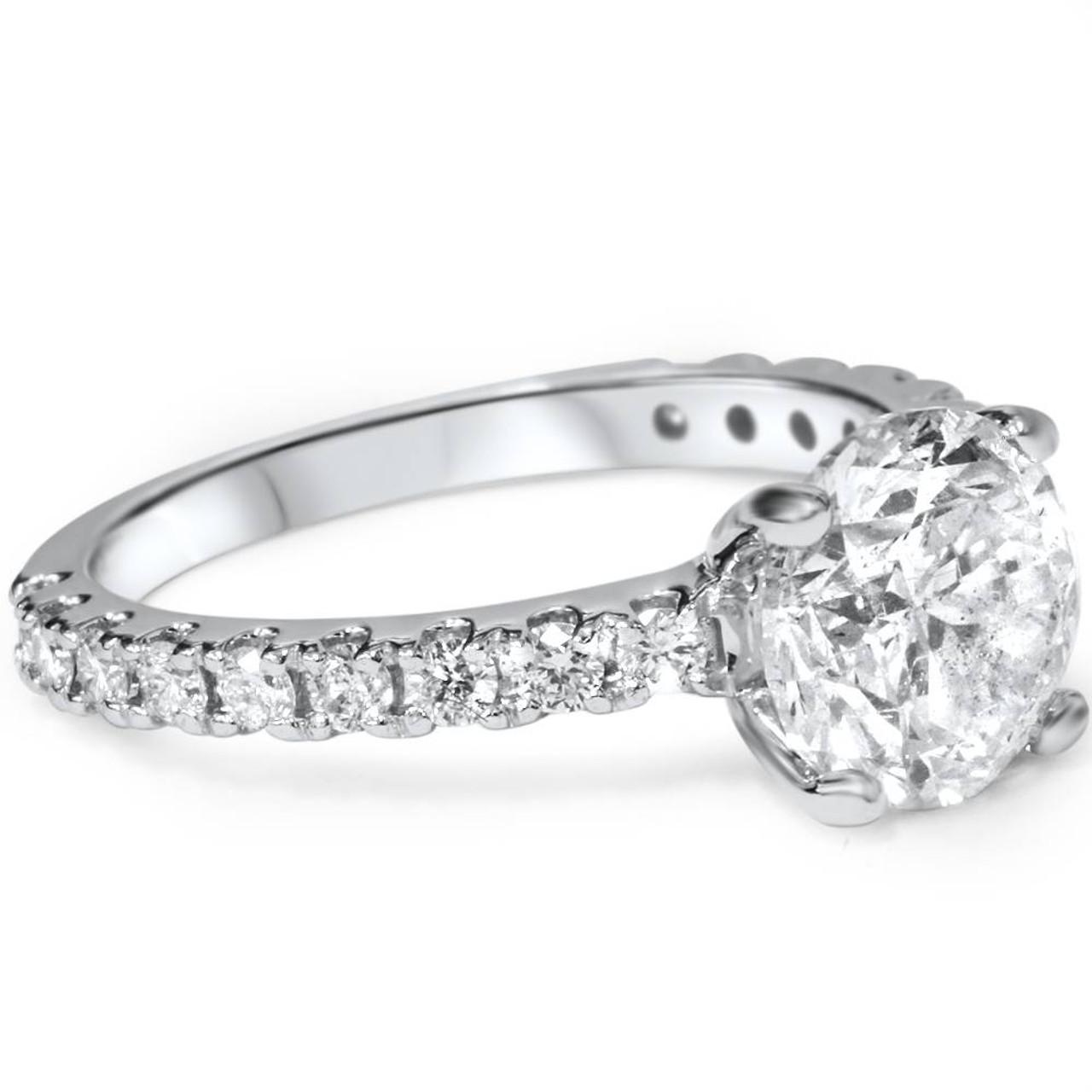 3 Carat Diamond Engagement Solitaire Ring 14K White Gold Enhanced Round Cut  (I/J, I1)