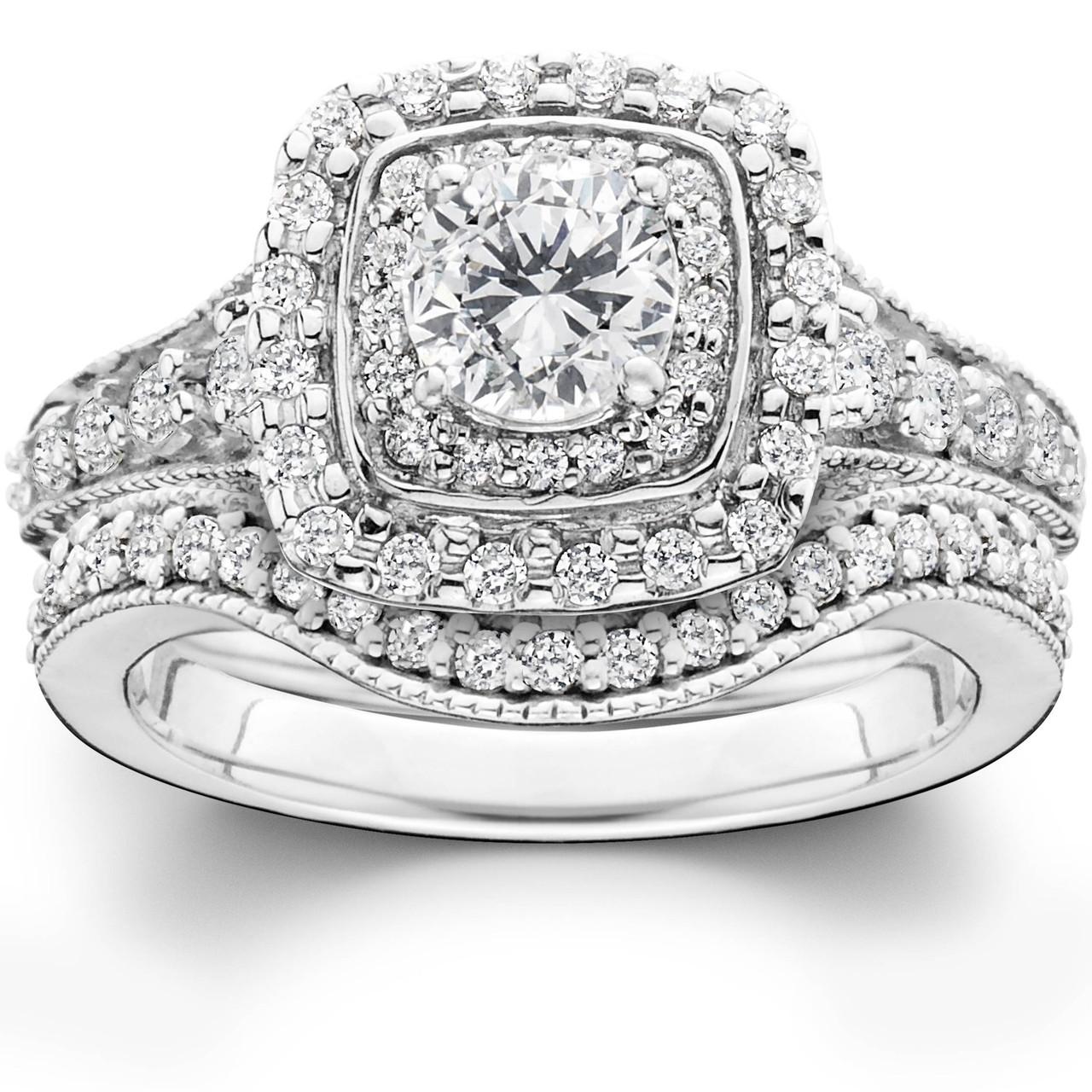 1 3 4ct Double Halo Vintage Style Engagement Wedding Ring Set 14k