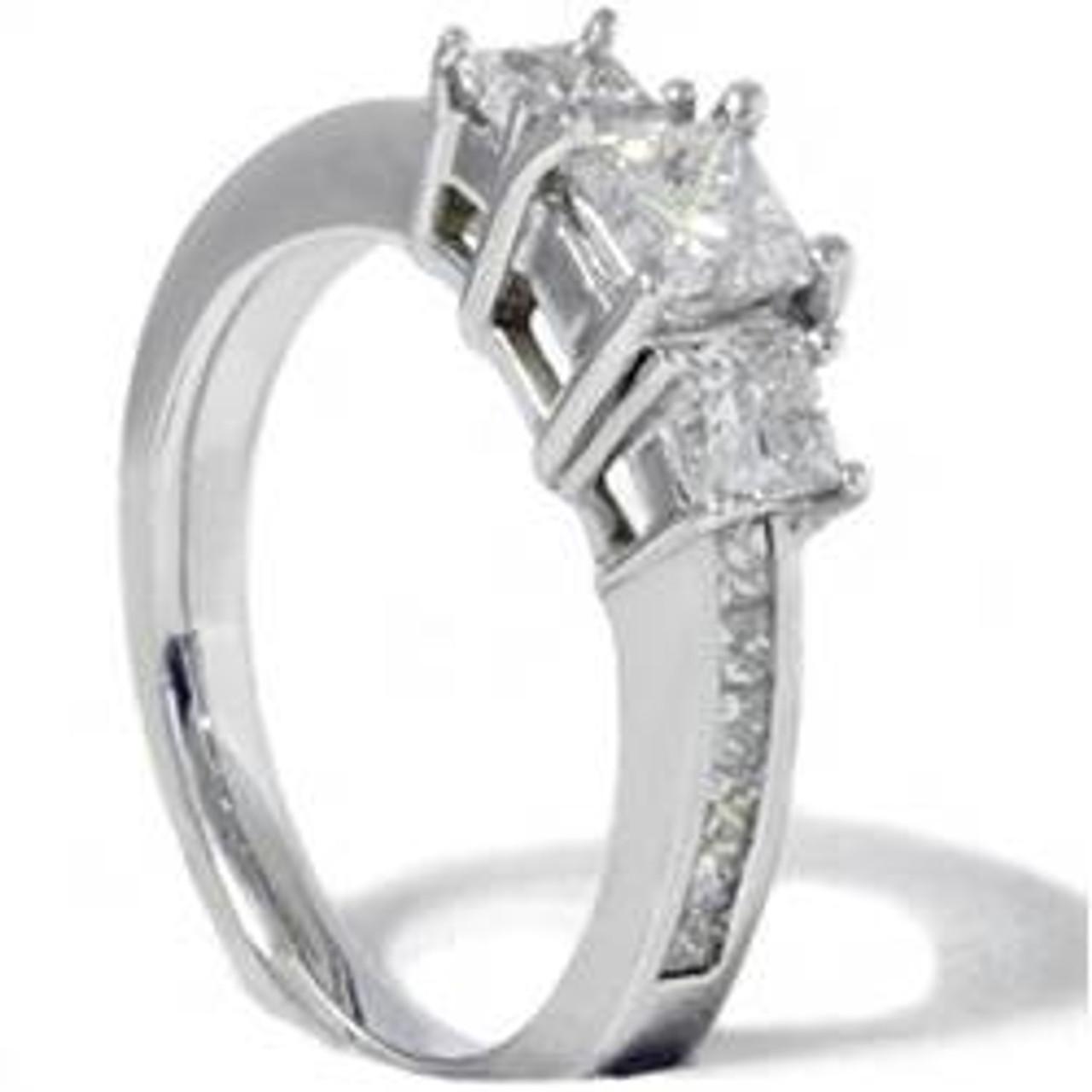 Princess Cut Diamond Engagement Ring 3-Stone 1 1/2ct 14k