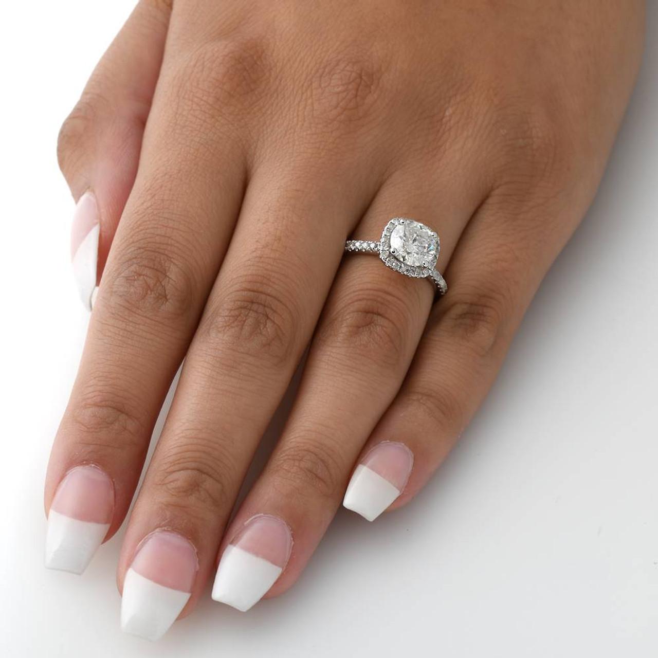2 Carat Cushion Halo Diamond Engagement Ring 14K White Gold