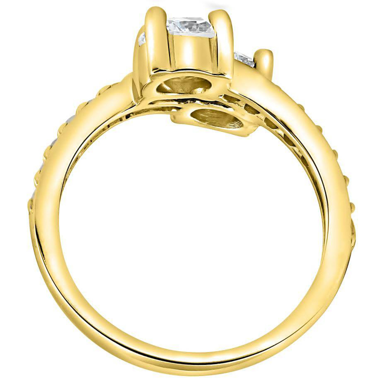 jewelry and tone products ring two gold rose twogether stone white diamond