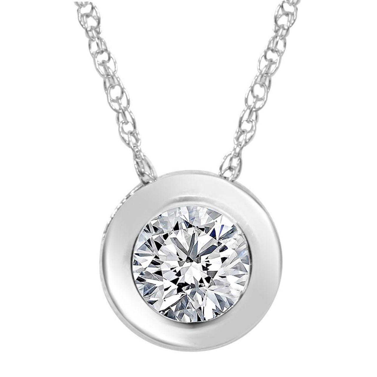 34ct round bezel solitaire diamond pendant necklace 14k white gold 34ct round bezel solitaire diamond pendant necklace 14k white gold g si2 aloadofball Images