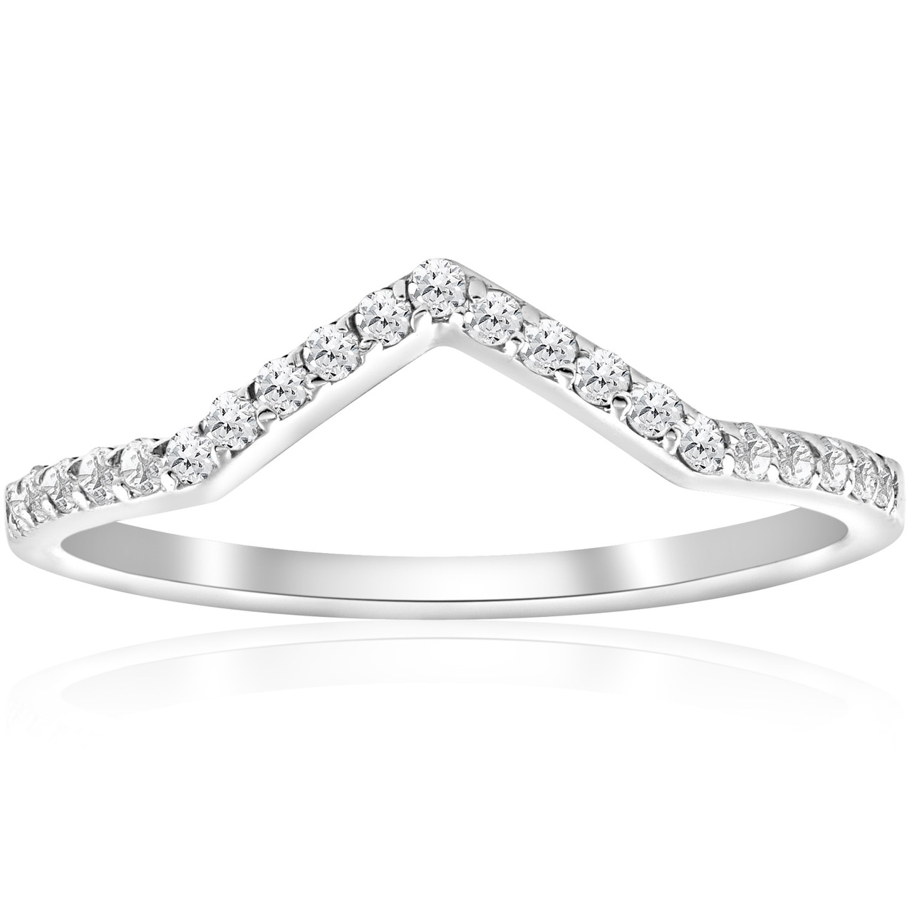 15ct Diamond Curved V Shape Ring Stackable Wedding Band 10k White Gold