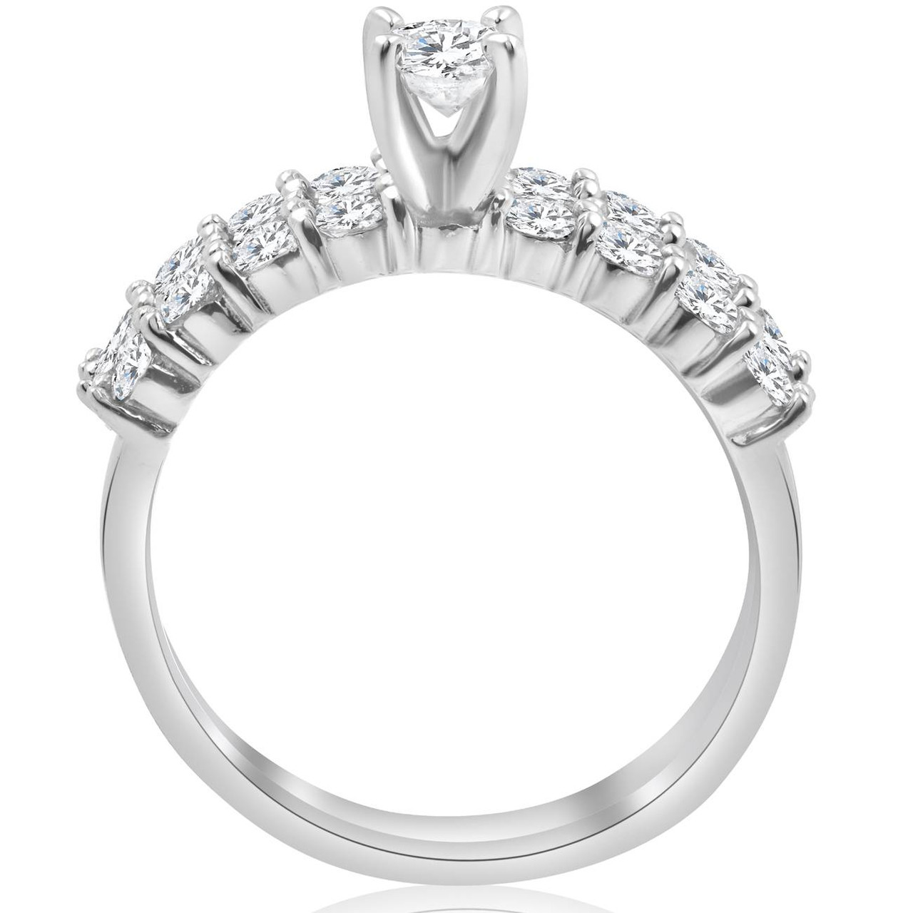 1 1/3 Ct TDW Diamond Engagement Ring Wedding Set 14k White Gold (I/J, I2 I3)