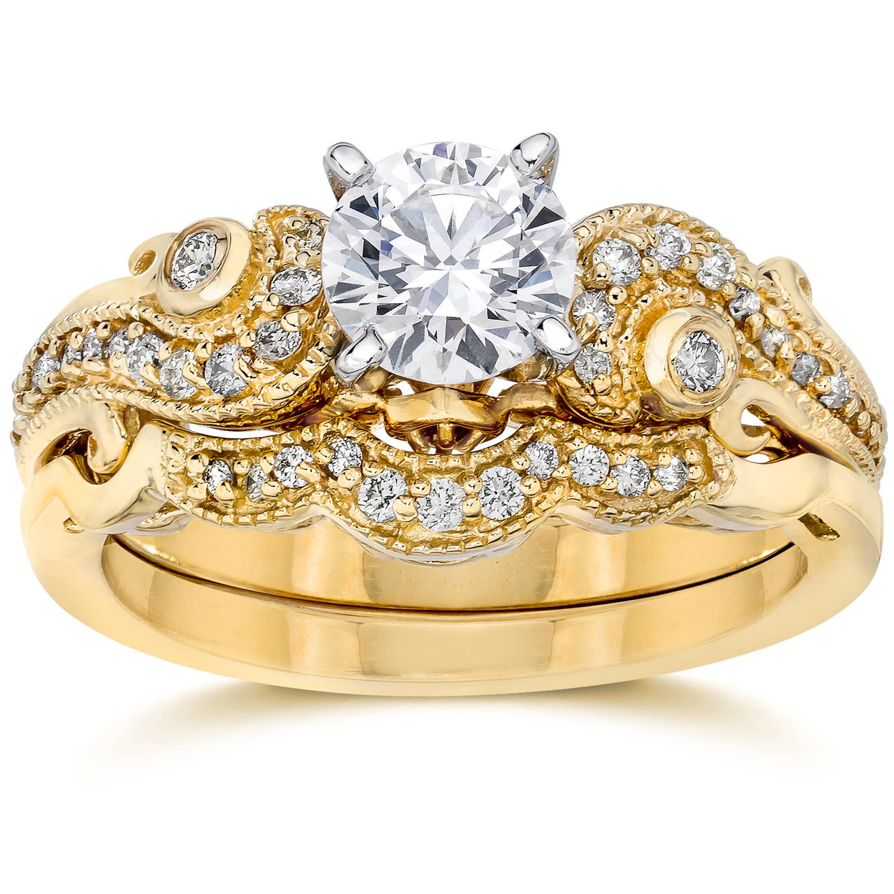 Emery 34Ct Vintage Diamond Engagement Wedding Ring Set 14K Yellow Gold