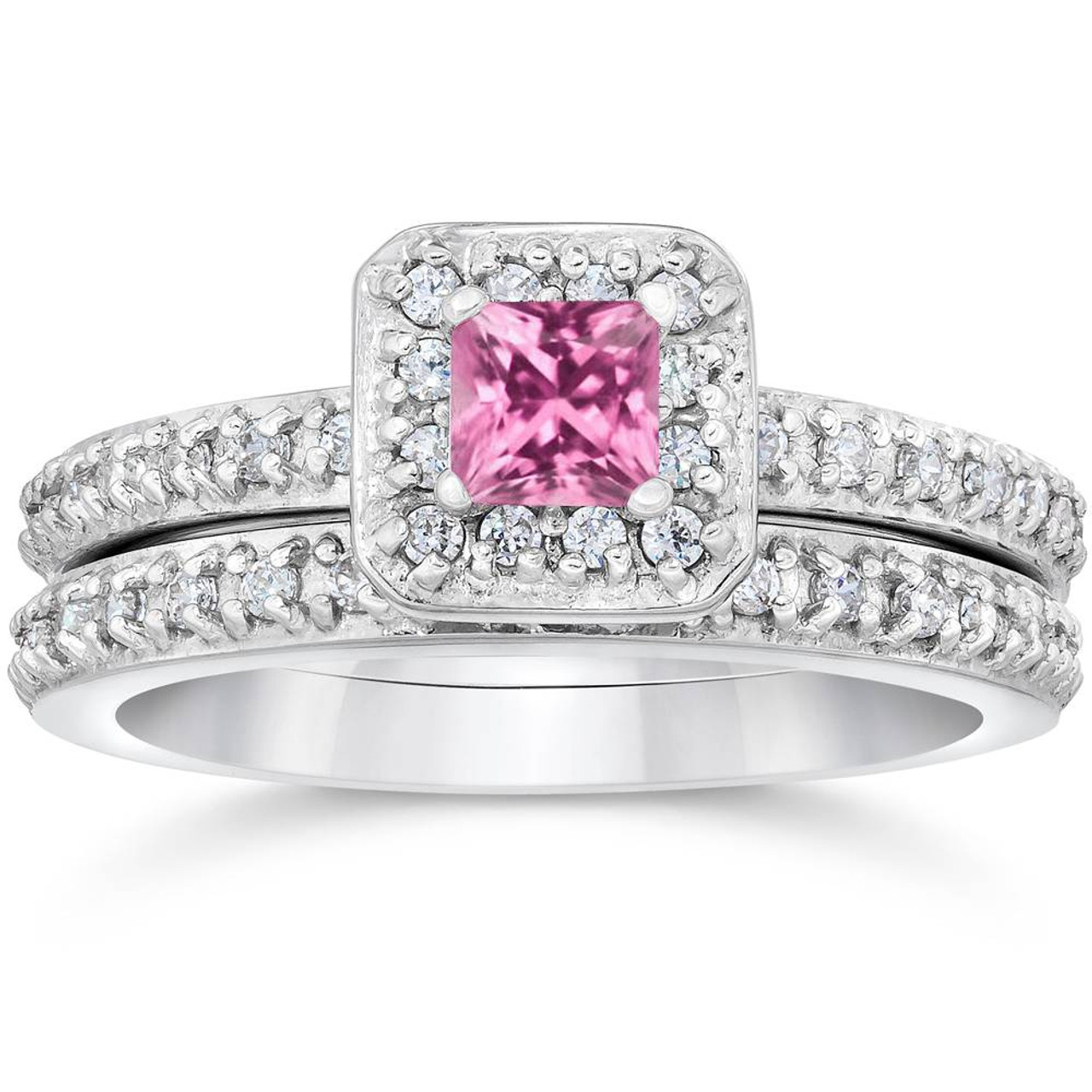 princess h cut diamond pink rings g vintage ring sapphire set white wedding pave gold