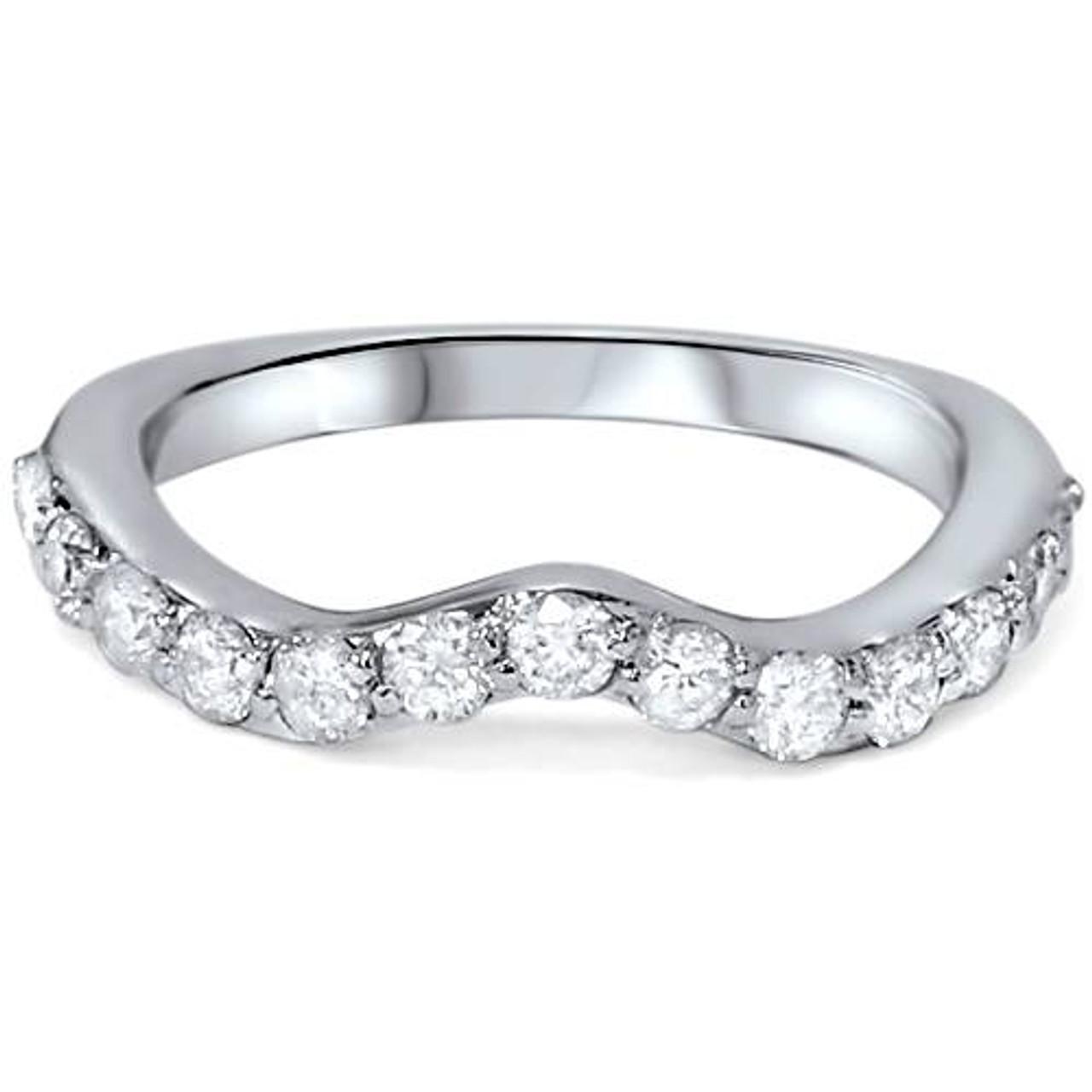 1 2ct Curved Diamond Notched Wedding Ring Enhancer 14k White Gold G H I1 I2