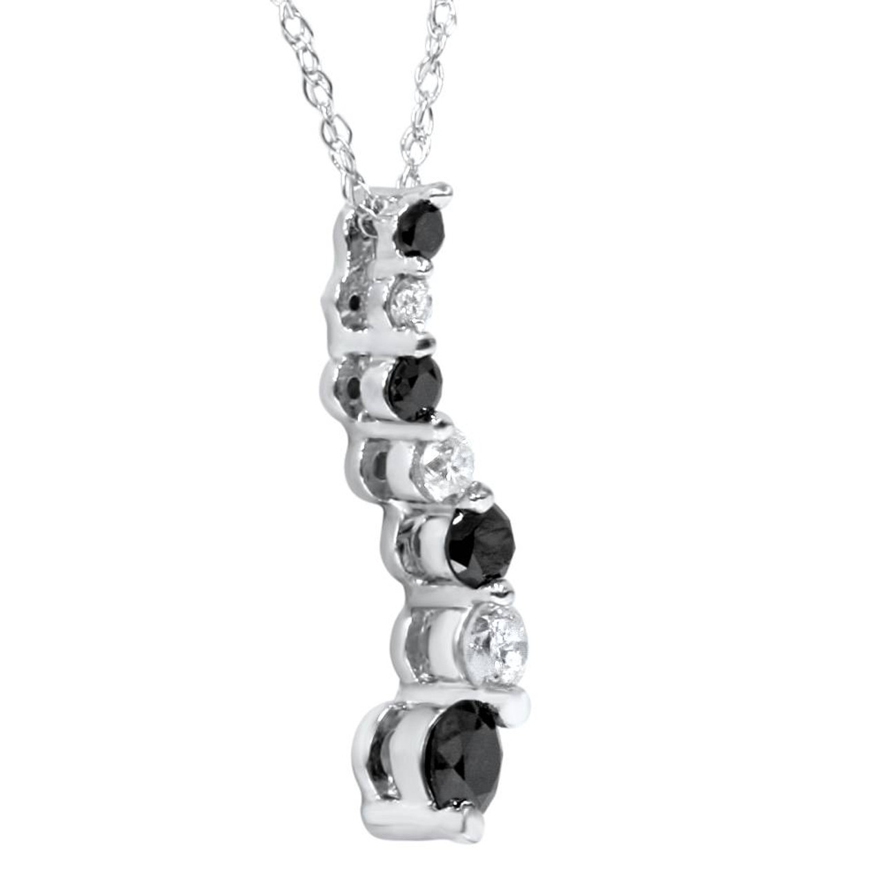 White gold 12ct black white diamond journey pendant white gold 12ct black white diamond journey pendant gh si aloadofball Images