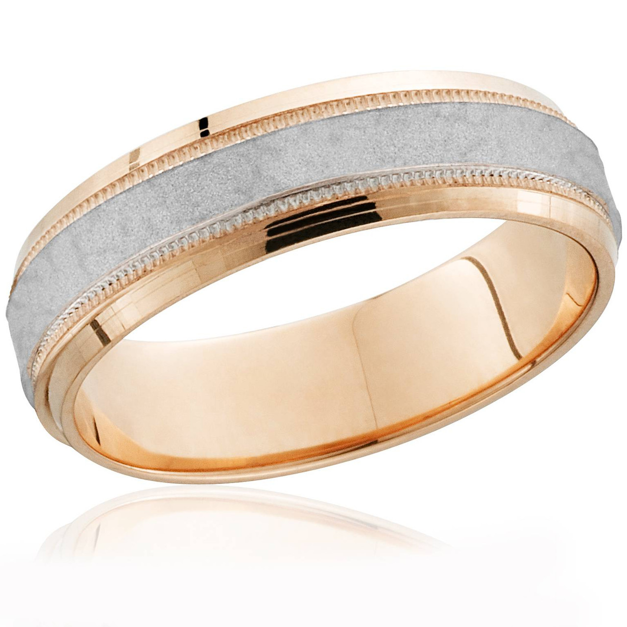 14k Rose Gold Platinum Two Tone Hammered Mens Wedding Band Comfort Fit