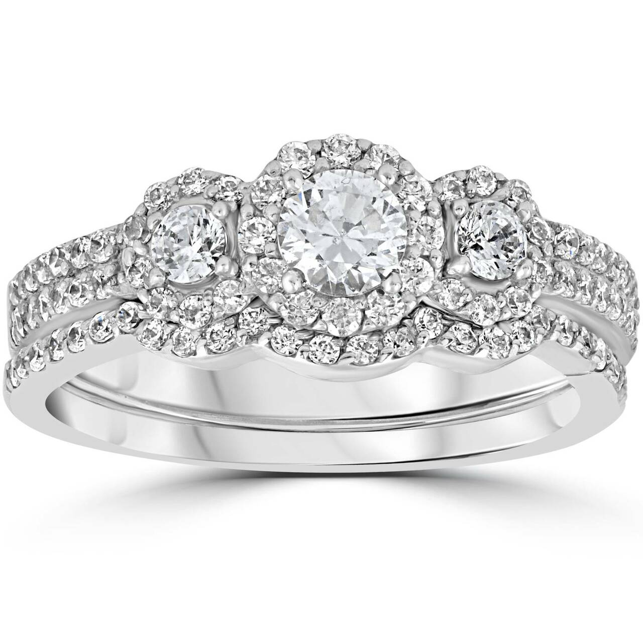 1.00CT 3 Stone Diamond Engagement Wedding Ring Set 10K White Gold (H/I,  I1 I2)
