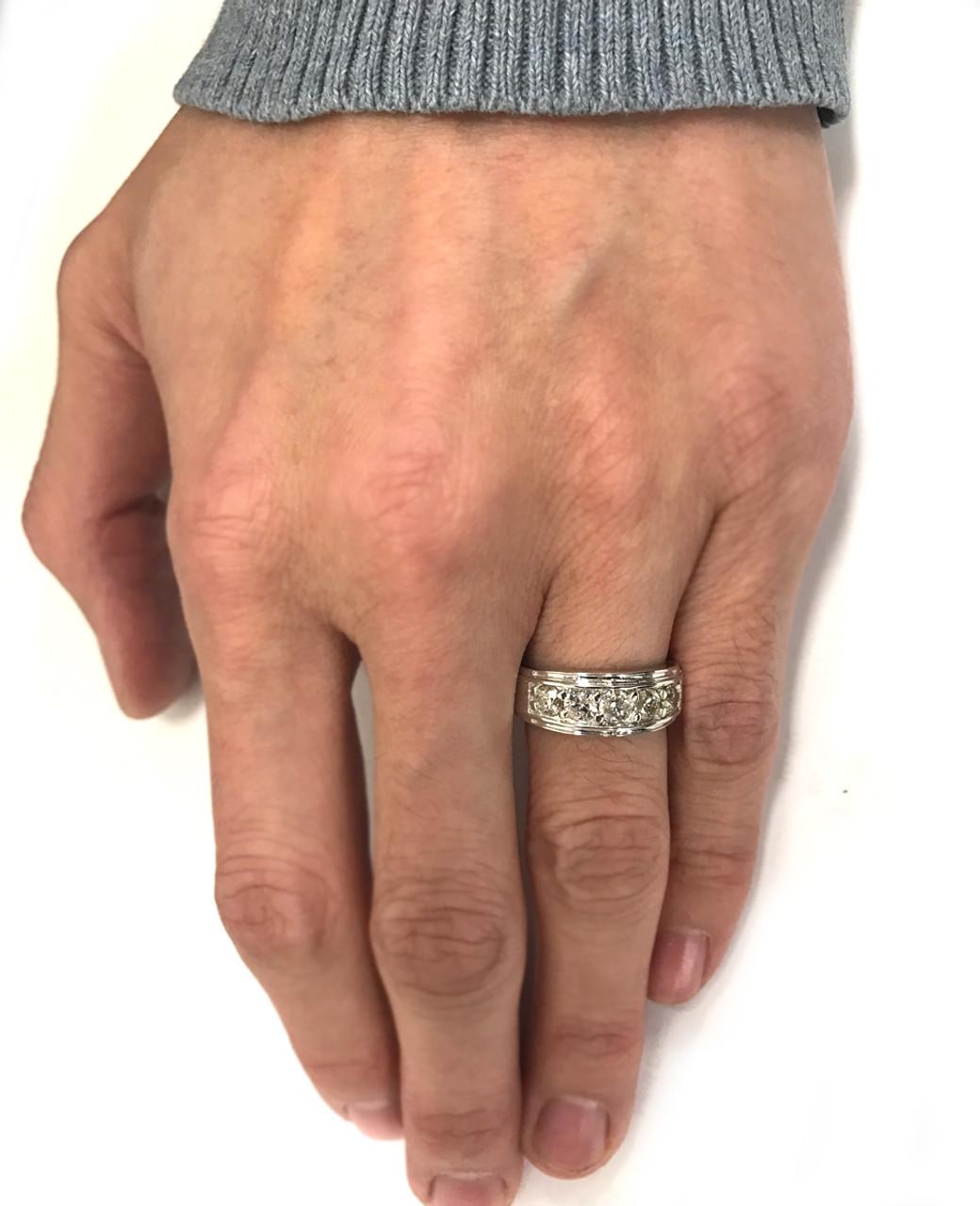 1 Ct Mens Diamond Five Stone Wedding Ring 10k White Gold