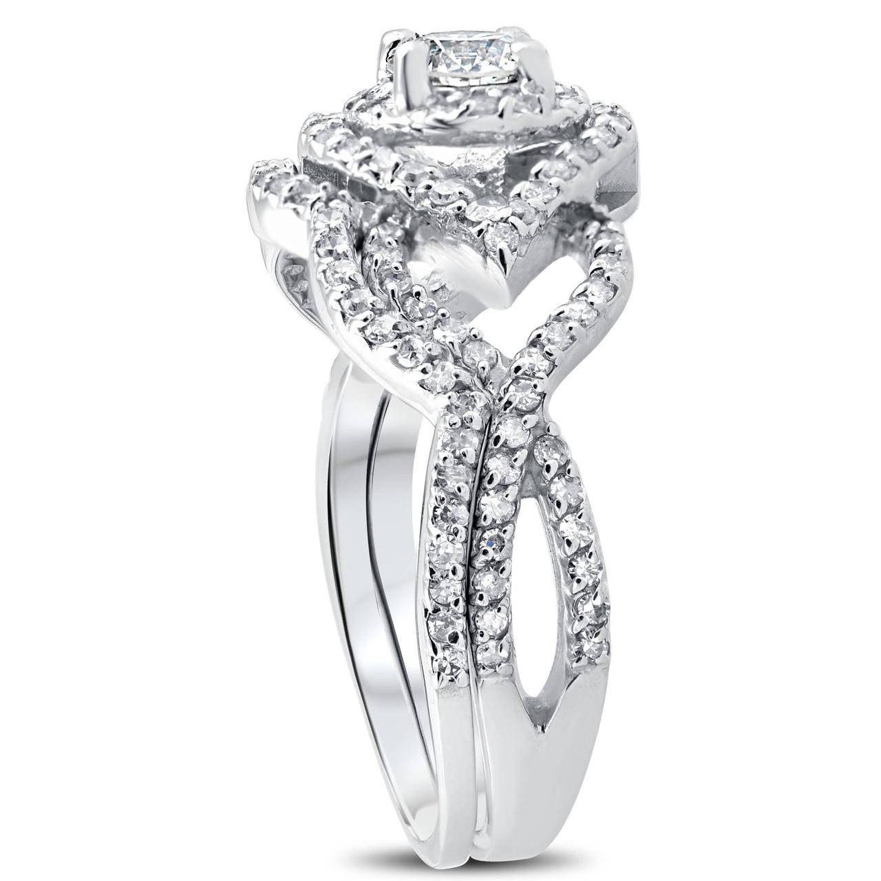 1 CT Diamond Intertwined Engagement Matching Wedding Ring Set 10K White  Gold (H/I, I1 I2)