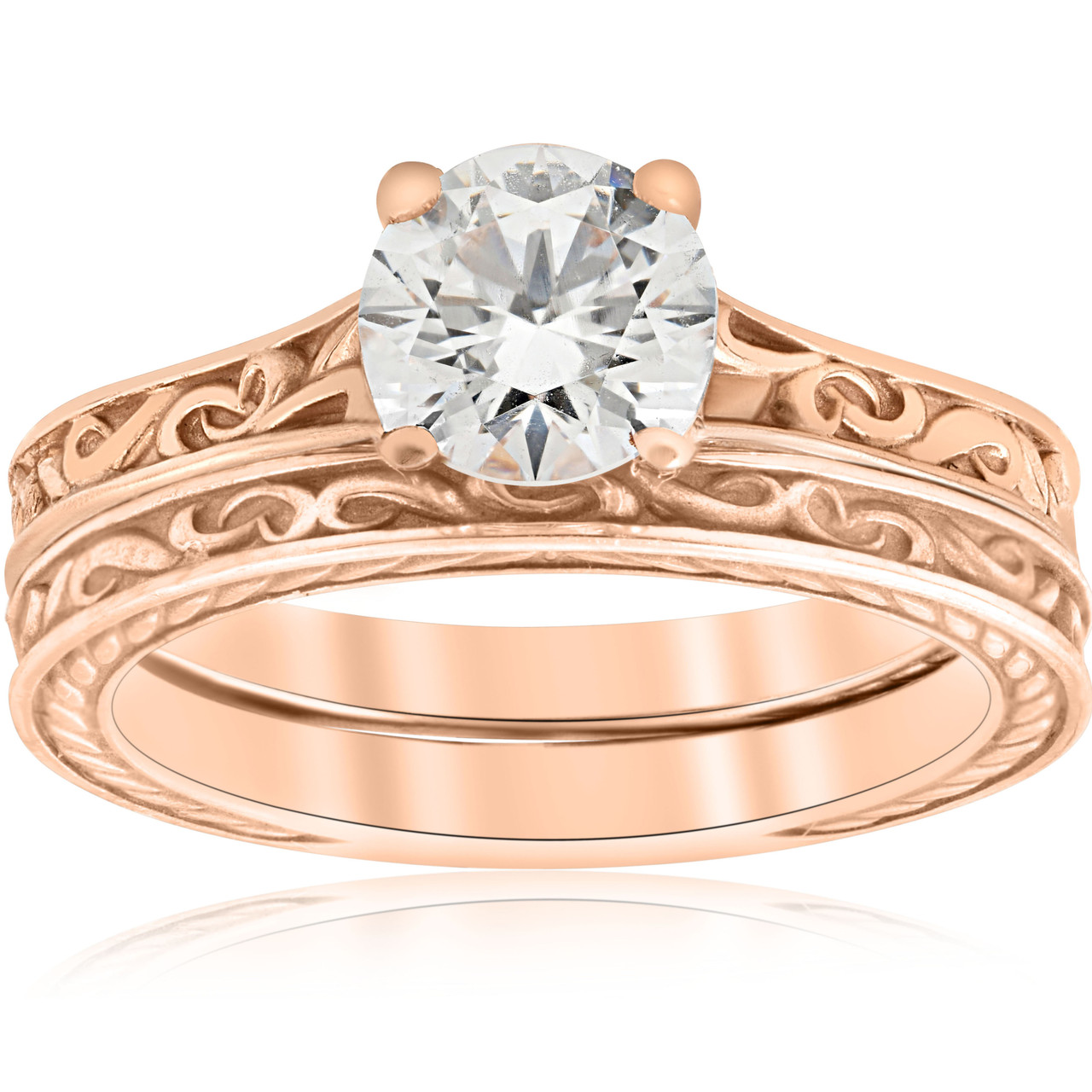 1ct Diamond Solitaire 14k Rose Gold Vintage Engagement Ring Wedding Band