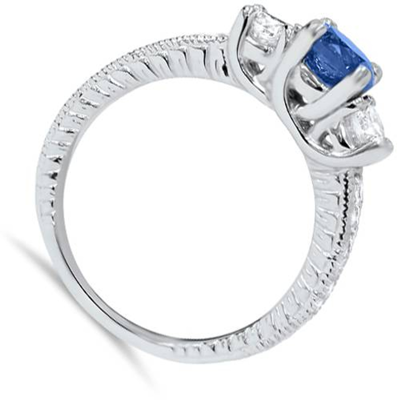 1ct Vintage Blue Diamond 3 Stone Engagement Ring 14K White Gold (G/H, I1 I2)