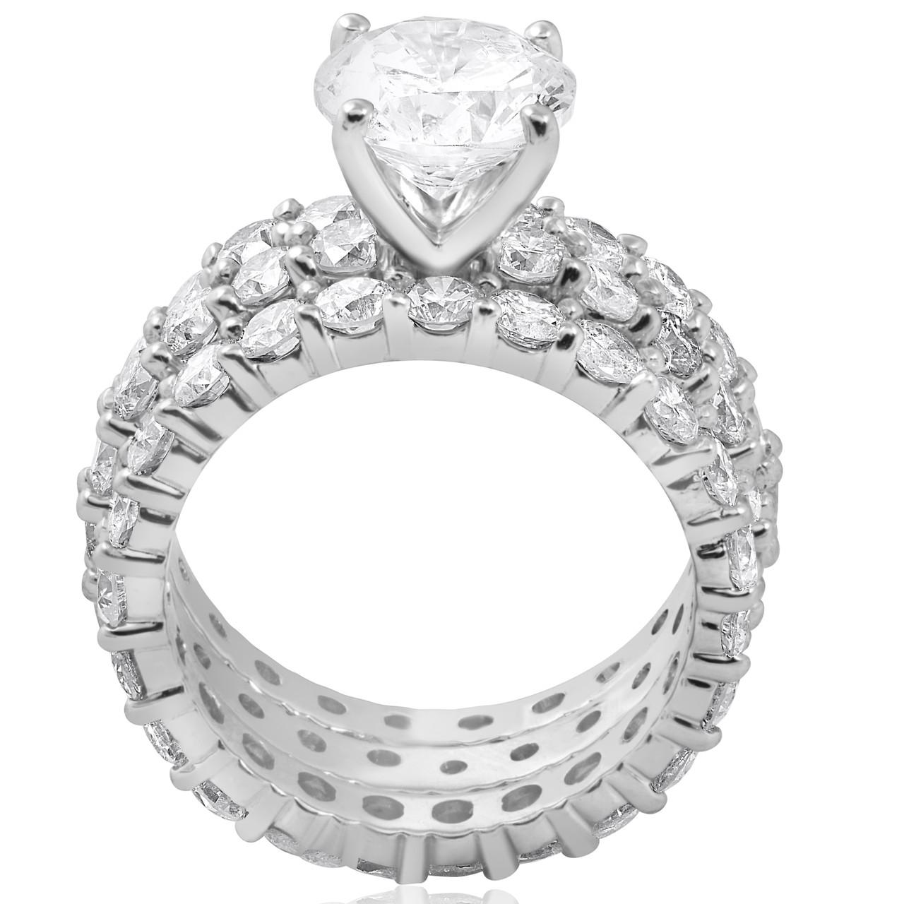 7ct Diamond Engagement Eternity Wedding Ring Set 14k White Gold
