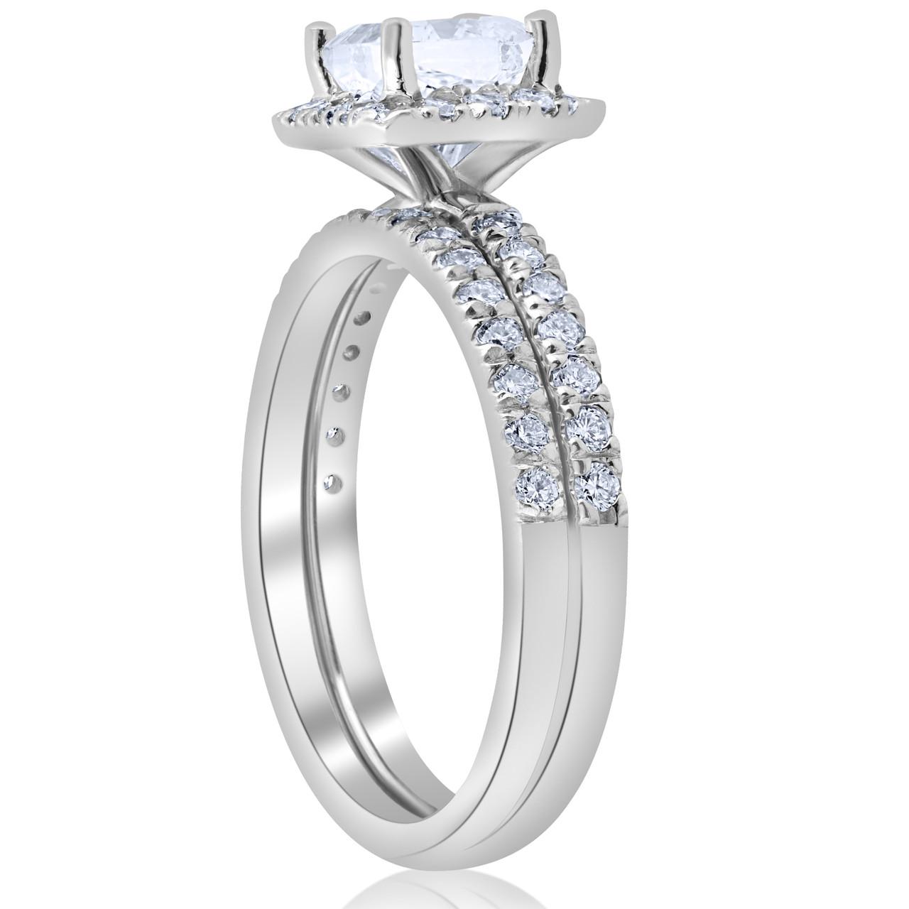 1 5 8ct Certified Princess Cut Diamond Engagement Ring Set 14k White
