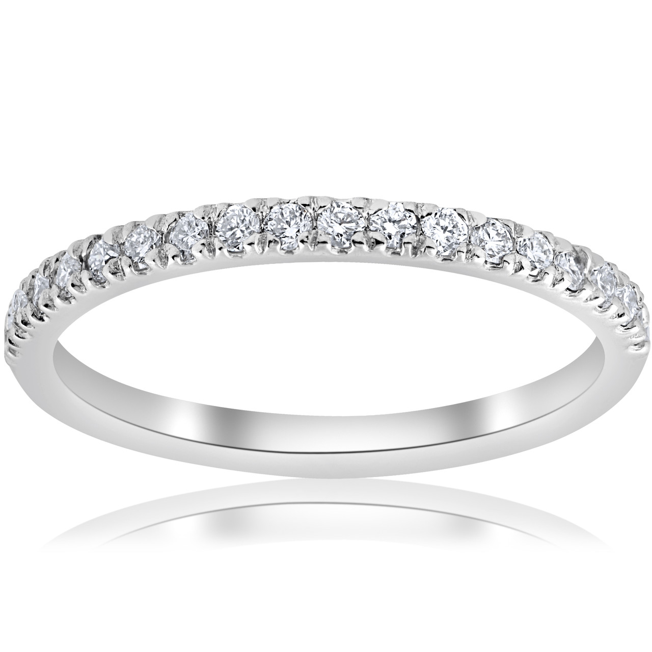 15ct Pave Diamond Wedding Ring Stackable Anniversary Band 14k White