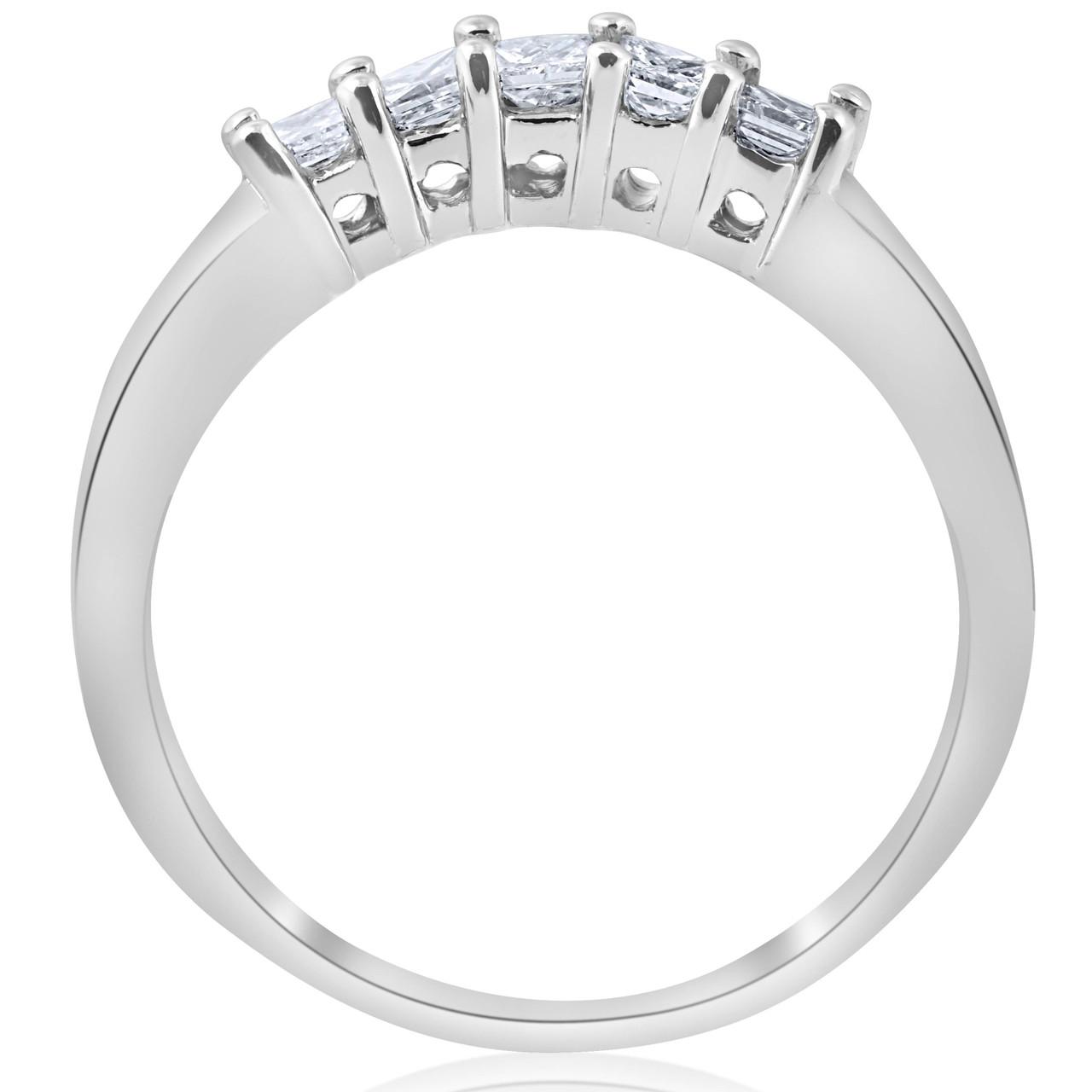 12ct Princess Cut Diamond Curved Wedding Ring Enhancer 14K White Gold