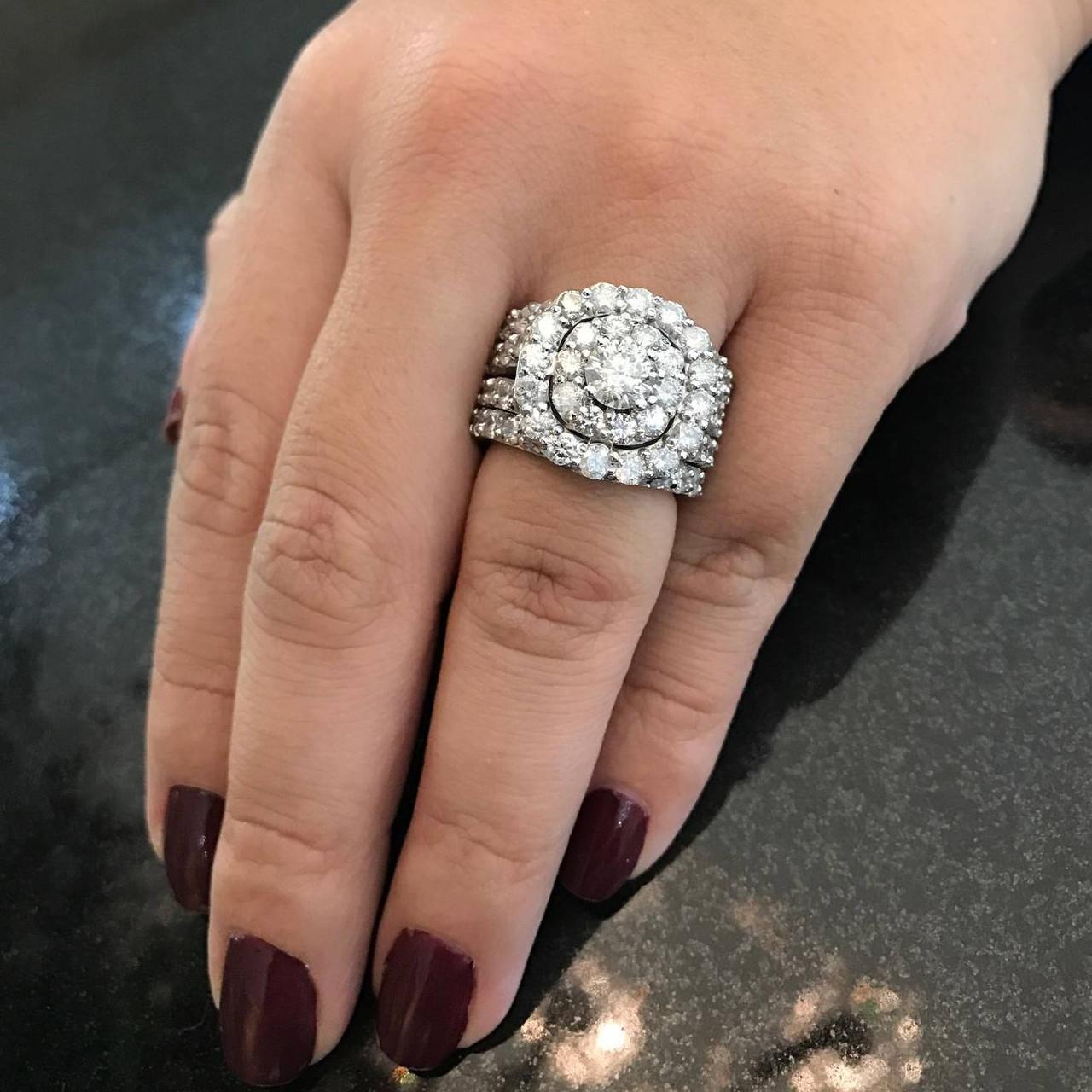 5 Ct Diamond Engagement Cushion Halo Trio Engagement Wedding Ring