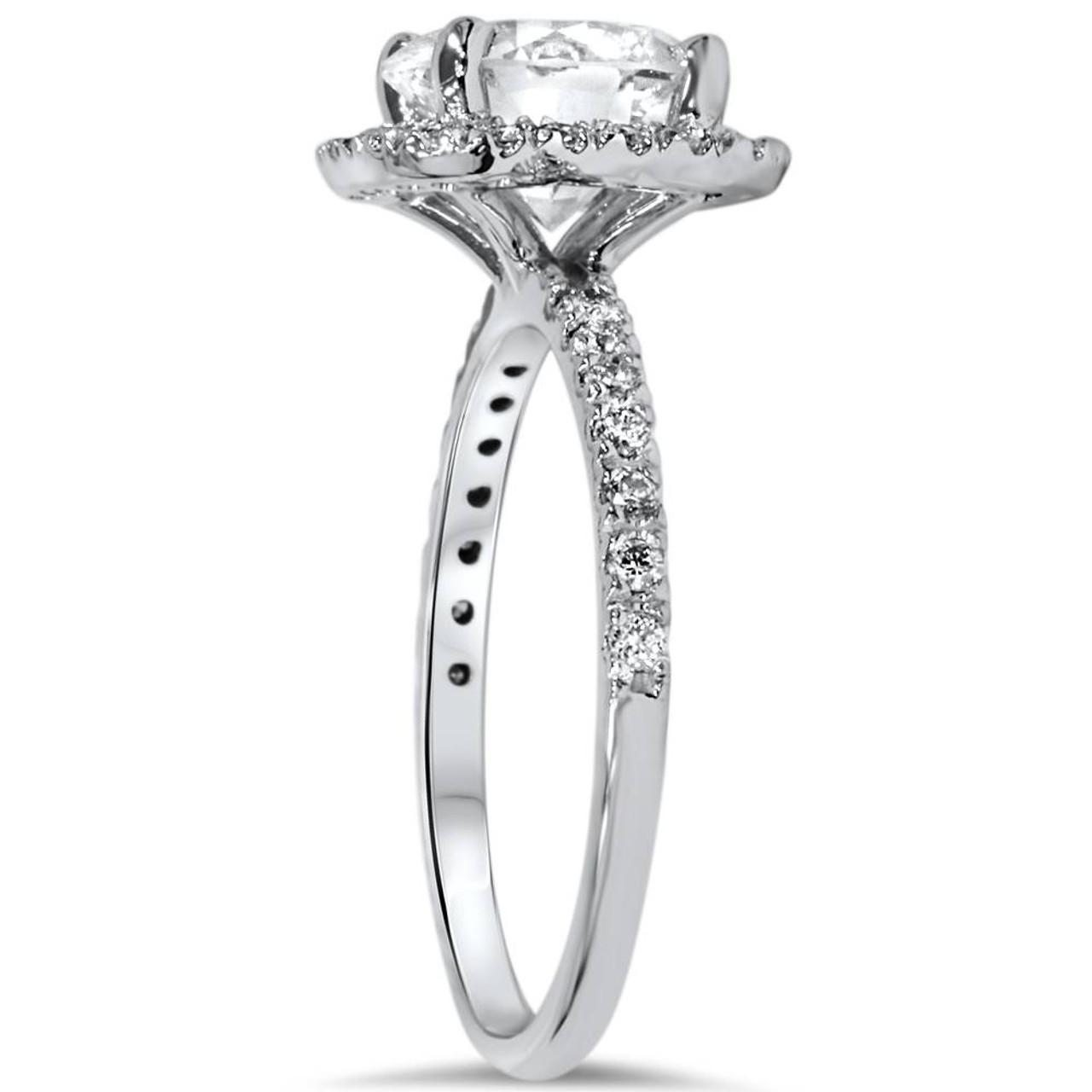 1 34 CT Halo Diamond Engagement Ring Round Cut 14K White Gold