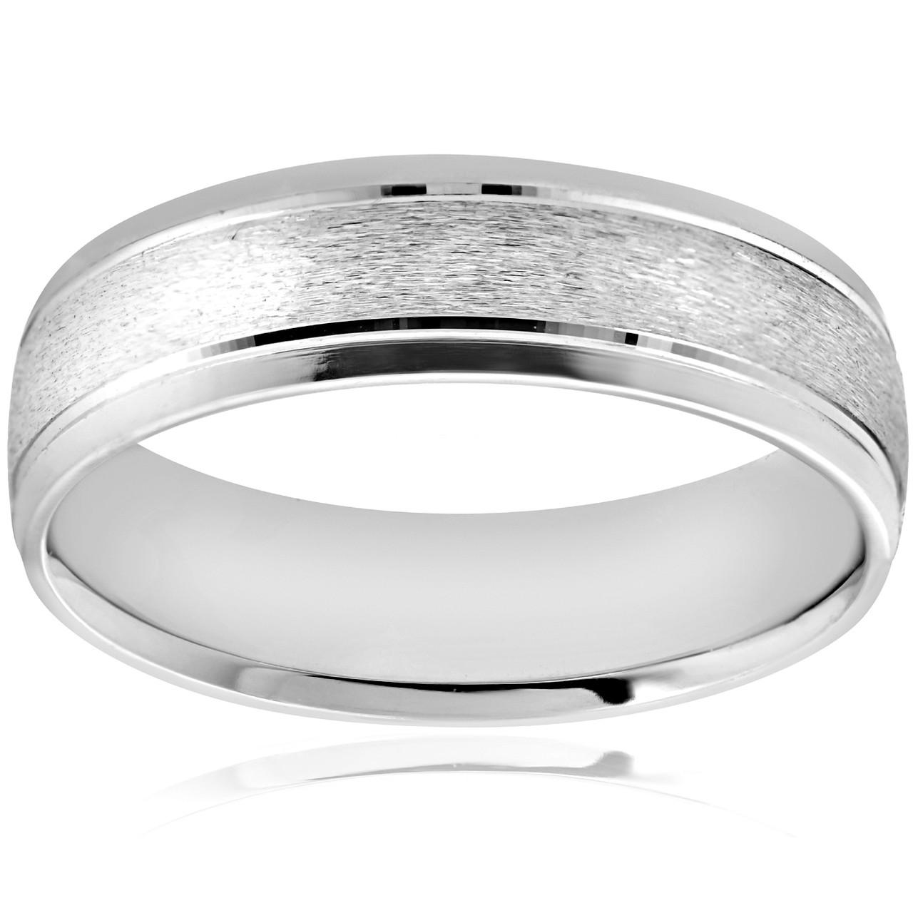 6MM Platinum Mens Wedding Band Brushed Comfort Fit Flat Ring