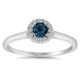 1/2ct Blue Halo Diamond Engagement Ring 14K White Gold (G/H, I1-I2)
