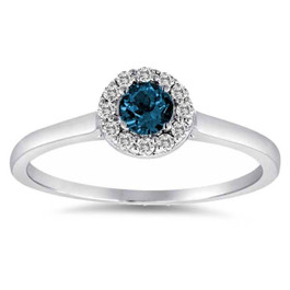 1/2ct Blue Halo Diamond Engagement Ring 14K White Gold (G/H, I1-I2)
