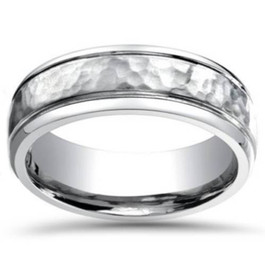 Mens Hammered 6mm Wedding Band 10K White Gold