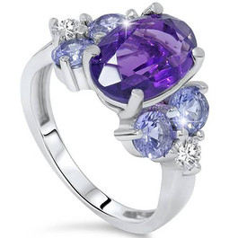 7 1/3ct Amethyst Pastel Sapphire & Diamond Ring 14K White Gold (G/H, SI1-SI2)