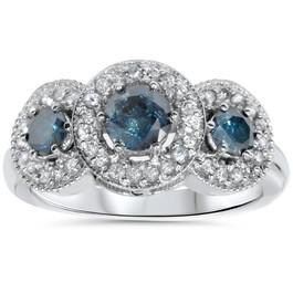 1 1/10ct Blue & White Diamond 3 Stone Ring 14K White Gold (G/H, SI2-I1)