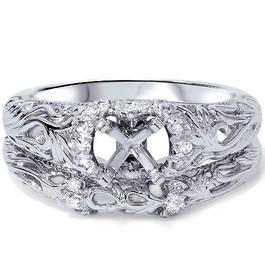 1/5ct Vintage Diamond Engagement Mount Set 950 Platinum (G/H, SI1-SI2)