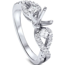 3/8ct Diamond Engagement Ring Setting 14K White Gold (G/H, SI1-SI2)