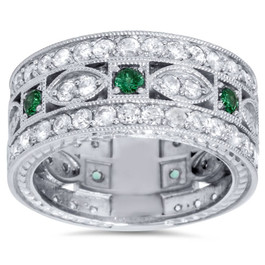 2 1/4ct Vintage Diamond & Emerald 3/4 Eternity Ring 9.5mm Wide 14K White Gold (G/H, I1-I2)