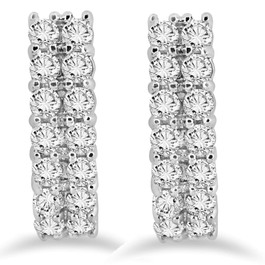 "1 3/8 CT Natural Diamond Hoops White Gold 3/4"" Tall (H-I, I2)"