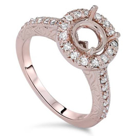 1/3ct Vintage Halo Diamond Ring Setting 14K Rose Gold (G/H, I1-I2)