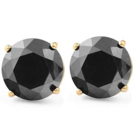 Yellow Gold 2ct Round Cut Black Diamond Studs (Black, AAA)