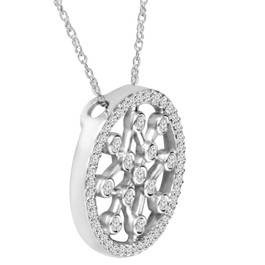 1/3ct Circle Star flake Dreamweaver Diamond Pendant 14K (H, I1)