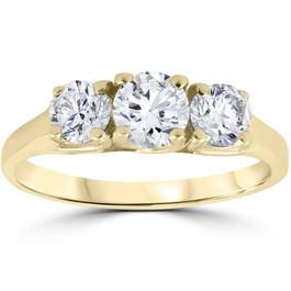 1ct Three Stone Diamond Engagement Womens Anniversary Ring 14k Yellow Gold (G/H, I1)