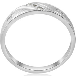 1/10 ct Mens Diamond Cross Wedding Anniversary Ring 10K White Gold (G/H, I1-I2)