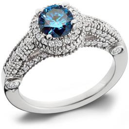 1 1/6ct Halo Milgrained Blue Diamond Engagement Ring 14K White Gold (H, I2)