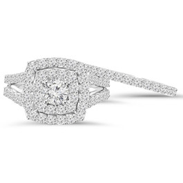 2 cttw Diamond Cushion Double Halo Engagement Wedding Ring Set 10k White Gold (I-J, I1-I2)