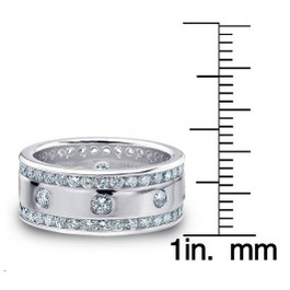3 1/3ct Diamond Eternity 10mm Comfort Fit Wedding Mens Ring 14K White Gold (G/H, I1-I2)