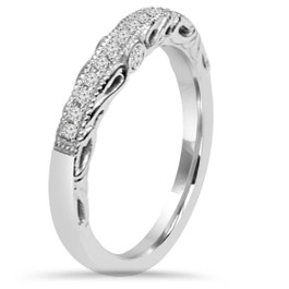 1/5CT Vintage Diamond Curved Notched Guard Wedding Ring 14K White Gold (H/I, I1-I2)